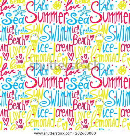 seamless pattern with summer text, colotful