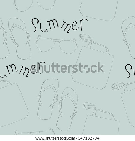 Seamless pattern with summer things: a bag, flip flops, sunglasses.
