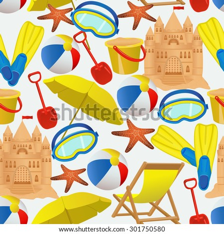 Seamless pattern with summer vacation accessories on white background. Summer beach resort backdrop. Vector illustration - stock vector