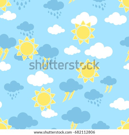 Seamless pattern sun clouds rain rainbow stock vector for Rainbow wallpaper for kids room