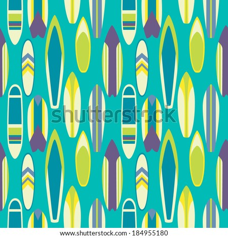 Seamless pattern with surfboards in flat style on blue background - stock vector