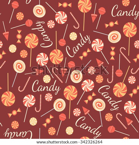 Seamless pattern with sweet candies isolated on chocolate background. Tasty lollipops. Yummy candies of different kinds.  Background with mix of caramels. Assorty of bonbons. Vector design - stock vector