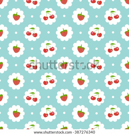 Seamless pattern with sweet cherry and strawberries. Shabby chic style - stock vector