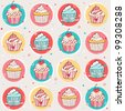 Seamless pattern with sweet cupcakes - stock photo