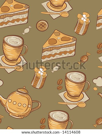 seamless pattern with sweets - stock vector