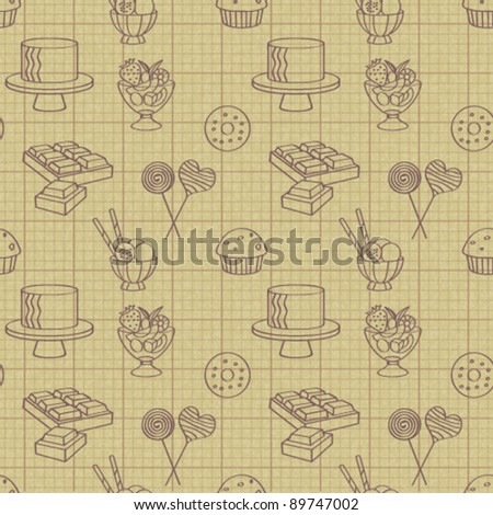Seamless pattern with sweets and cakes 1 - stock vector