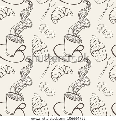 seamless pattern with sweets and coffee cup