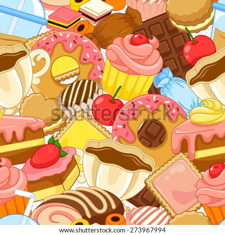 seamless pattern with sweets and pastries - stock vector