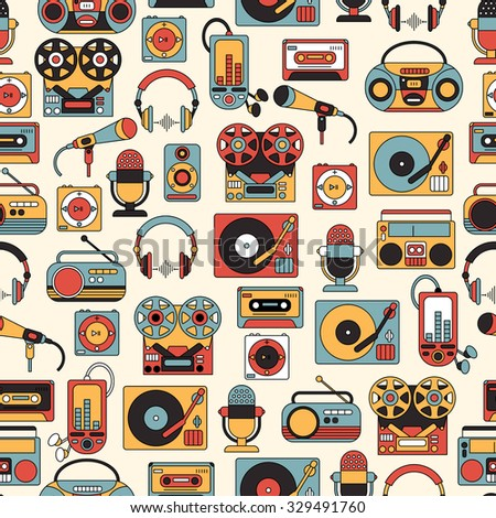 Seamless pattern with symbols of retro tape, cassette, turntable, records. - stock vector