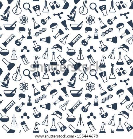 seamless pattern with symbols of science and medicine in a flat style - stock vector