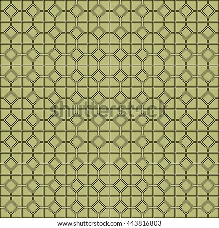 Seamless pattern with symmetric geometric ornament. Abstract repeated rhombuses and blocks background. Grill wallpaper. Vector illustration