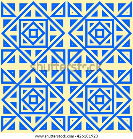Seamless pattern with symmetric geometric ornament. Blue geometrical figures abstract background. Abstract repeated squares, rhombuses and triangles wallpaper. Vector illustration - stock vector