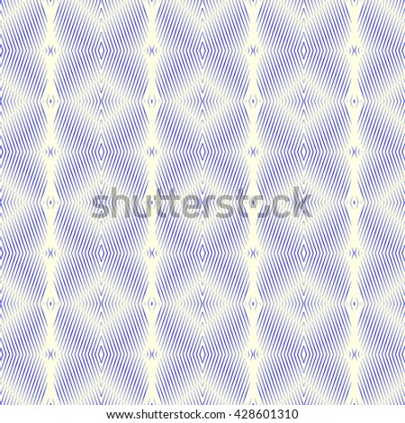 Seamless pattern with symmetric geometric ornament. Blue sharp lines, triangles, squares and diamond shaped spheres abstract background. Optical illusion effect wallpaper. Vector illustration - stock vector
