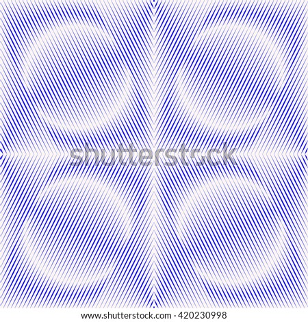 Seamless pattern with symmetric geometric ornament. Blue white sharp lines and round spheres abstract background. 3d optical illusion effect wallpaper. Vector illustration - stock vector