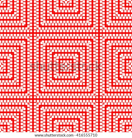 Seamless pattern with symmetric geometric ornament. Red white squares abstract background. Abstract repeated curved lines wallpaper. Vector illustration - stock vector