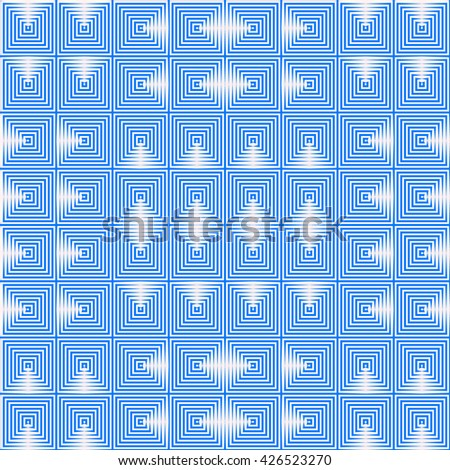 Seamless pattern with symmetric geometric ornament. Repeating breaking blue lines abstract background. Abstract repeated stylized squares wallpaper. Vector illustration - stock vector