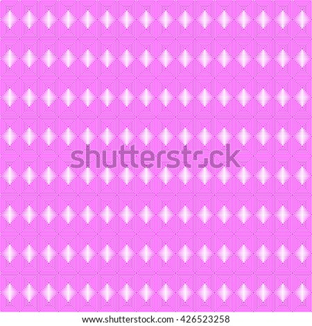 Seamless pattern with symmetric geometric ornament. Repeating breaking pink lines abstract background. Abstract repeated stylized squares wallpaper. Vector illustration - stock vector