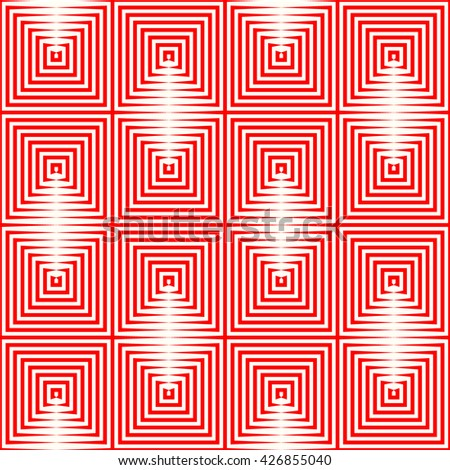 Seamless pattern with symmetric geometric ornament. Repeating breaking red lines abstract background. Abstract repeated stylized squares wallpaper. Vector illustration - stock vector