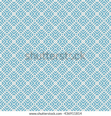 Seamless pattern with symmetric geometric ornament. Striped blue abstract background.