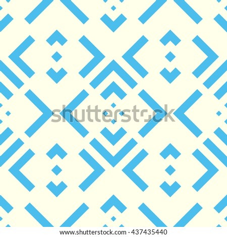 Seamless pattern with symmetric geometric ornament. Striped blue abstract background. Abstract repeated stylized squares wallpaper. Vector illustration - stock vector