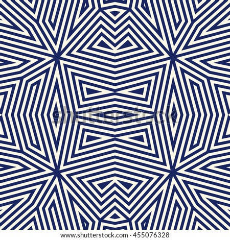 Seamless pattern with symmetric geometric ornament. Striped navy blue abstract background. Ethnic and tribal motifs. Repeated triangles wallpaper. Vector illustration