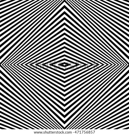 Seamless pattern with symmetric ornament. Black rhombuses on white background abstract. Psychedelic op art style wallpaper. Vector illustration