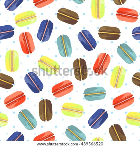 Seamless pattern with tasty macaroons. Sweet donuts isolated on polka dot background. Delicious desserts. Fresh bakery. Can be used in food industry for wallpapers, posters, wrapping paper. Vector