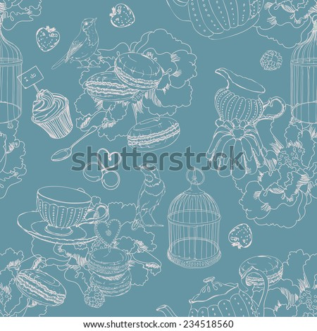 Seamless pattern with tea, cage, coffee pot, cup, jelly, cherry, berry, macaroon, strawberry, spoon, bird, flower, peony, raspberry in vintage style. Two colors - stock vector
