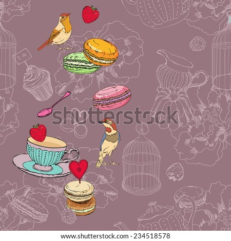 Seamless pattern with tea, cage, coffee pot, cup, jelly, cherry, berry, macaroon, strawberry, spoon, bird, flower, peony, raspberry in vintage style