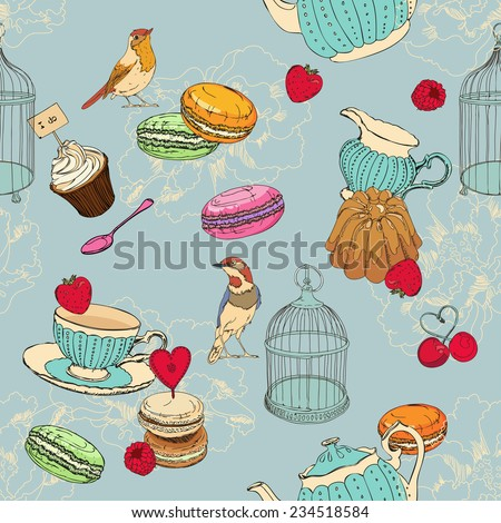 Seamless pattern with tea, cage, coffee pot, cup, jelly, cherry, berry, macaroon, strawberry, spoon, bird, flower, peony, raspberry in vintage style - stock vector