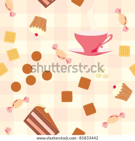 seamless pattern with tea, cake, candies  and cookies on checkered tablecloth - stock vector