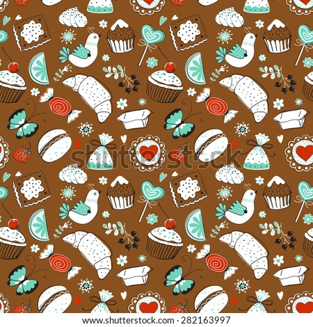 Seamless pattern with tea cake. Tea time. Seamless background