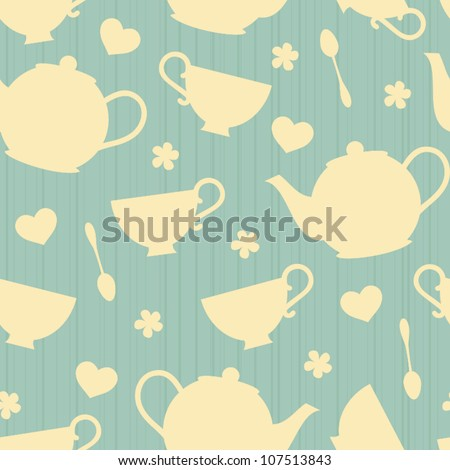 Seamless pattern with tea pots and tea cups.