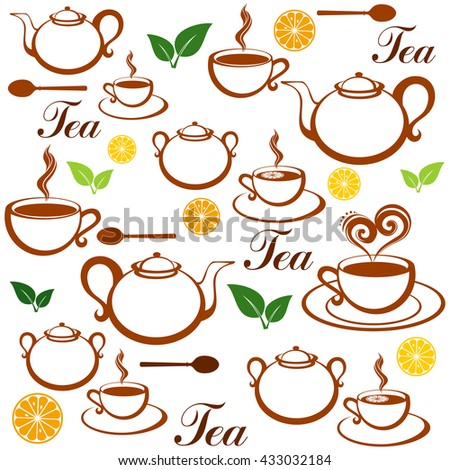 Seamless pattern with tea pots and tea cups.  Illustration - stock vector