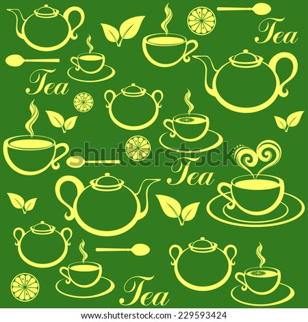 Seamless pattern with tea pots and tea cups. Vector Illustration - stock vector