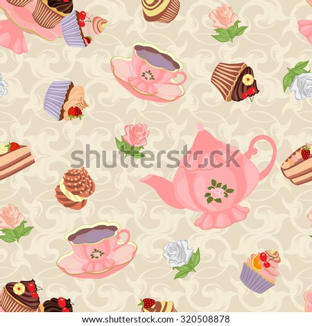 Seamless pattern with teapot, cups, cakes and roses. - stock vector