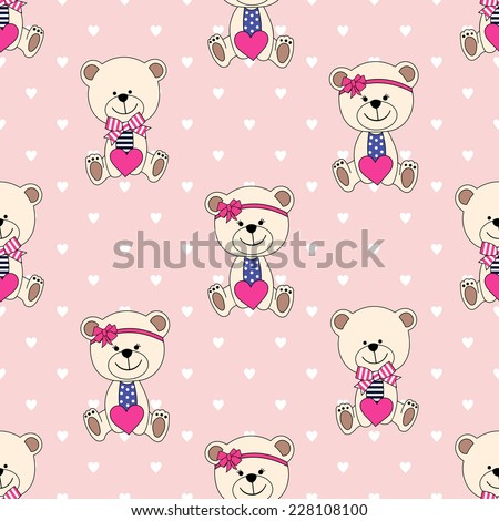 Seamless pattern with Teddy Bear for Happy Valentine's Day. Cute background for holidays. - stock vector