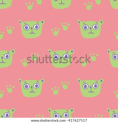 Seamless pattern with teddy bear vector illustration