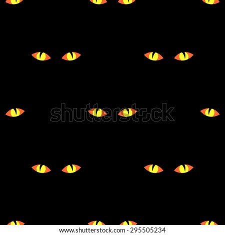 Seamless pattern with terrible glowing yellow-orange eyes in the night on a black background for the holiday Halloween