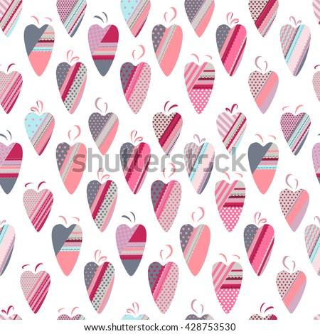 Seamless pattern with textile hearts.  Pink,red and grey color. Endless texture for romantic design, fabrics, wallpapers, greeting cards, wrappings, advertisement. - stock vector