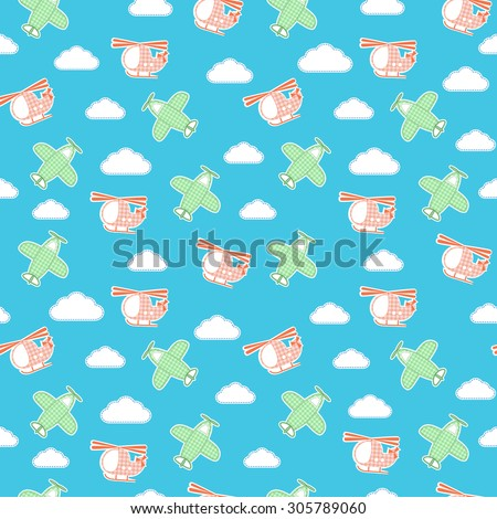 Seamless pattern with textile planes, helicopters and clouds. Vector illustration - stock vector