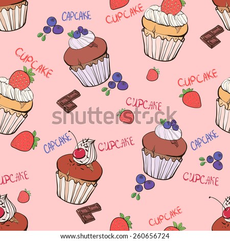 Seamless pattern with the blueberry, strawberry, cherry doodle muffins