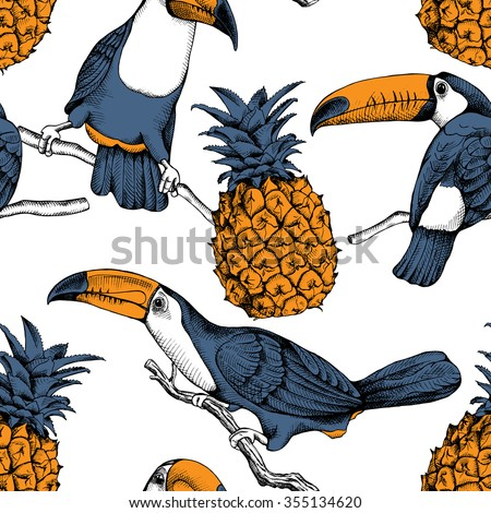 Seamless pattern with  the illustrations of the birds toucans on the branches and pineapples. Vector illustrations. - stock vector