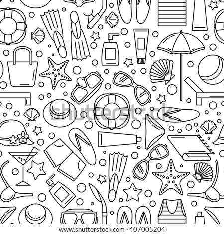 Seamless pattern with the image of accessories for a summer beach holiday. Line style. Black-and-white version.