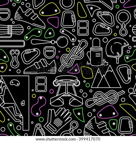 Seamless pattern with the image of climbing equipment. Completed in linear style. - stock vector