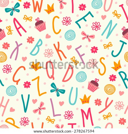 Seamless pattern with the letters. - stock vector