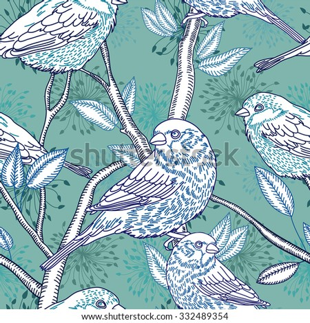 seamless pattern with the linear vector sparrow bird on a branch and flower