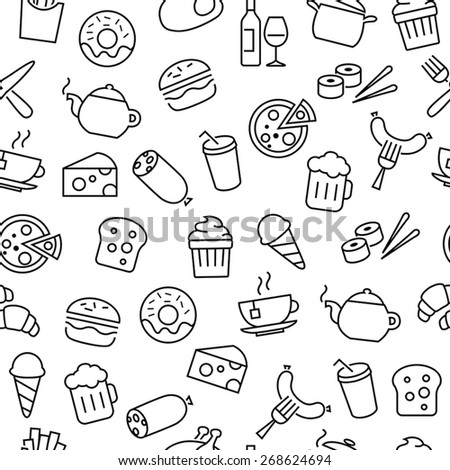 Seamless pattern with thin lines icons related to food, cooking and kitchen equipment - stock vector
