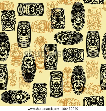 Seamless Pattern With Tiki mask - stock vector