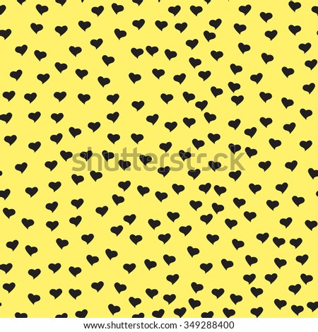 Seamless pattern with tiny black hearts. Abstract repeating. Cute backdrop. Yellow background. Template for Valentine's, Mother's Day, wedding, scrapbook, surface textures. Vector illustration. - stock vector
